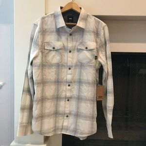 Men's Vans Gray & White Plaid Shirt